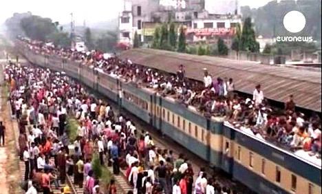 The train itself suffers huge pressure of home bound people on the occation of Eid